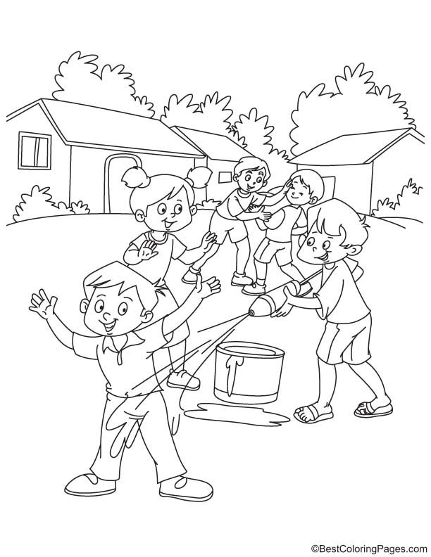 Kids Playing Holi With Pichkari Coloring Page Download Free Kids Holi Colouring Pages