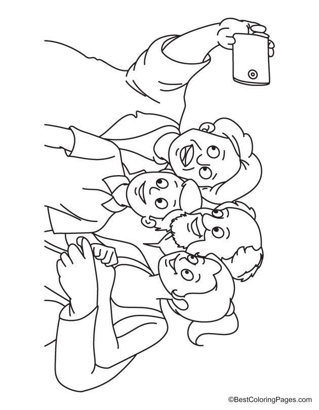 Kids with grandparent taking selfie