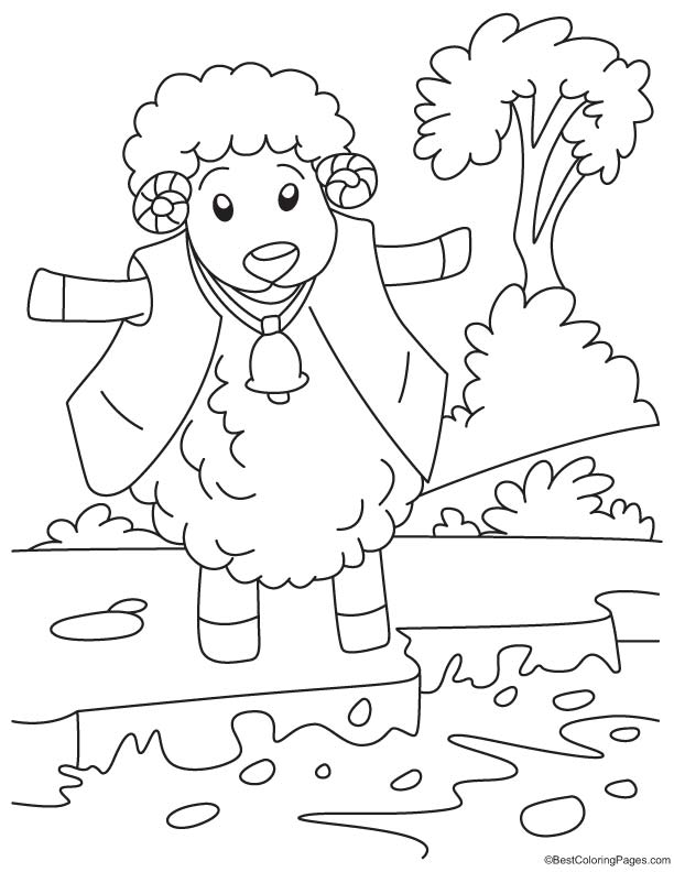 King of woolen coloring page