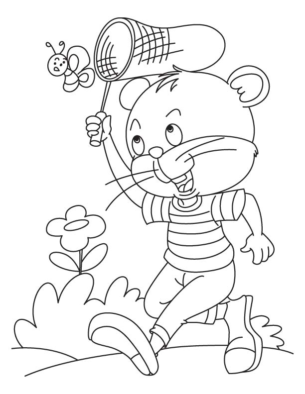 Kitten catching a butterfly coloring page