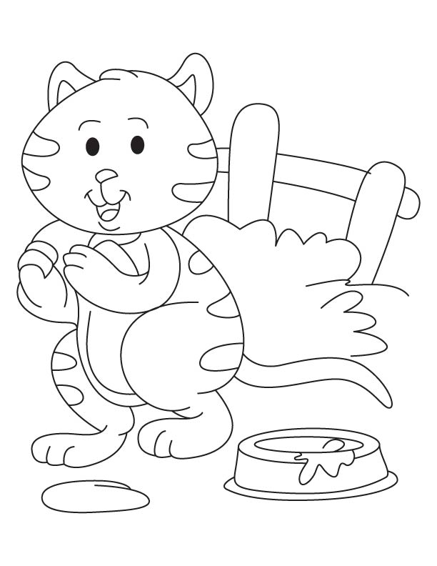 Kitten not drinking milk coloring page
