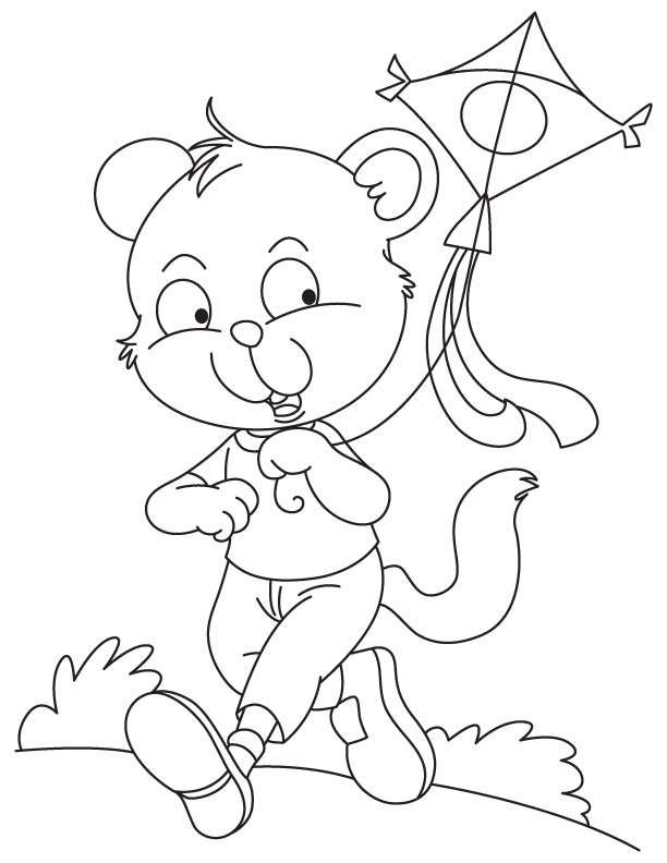 Kitty flying a kite coloring page