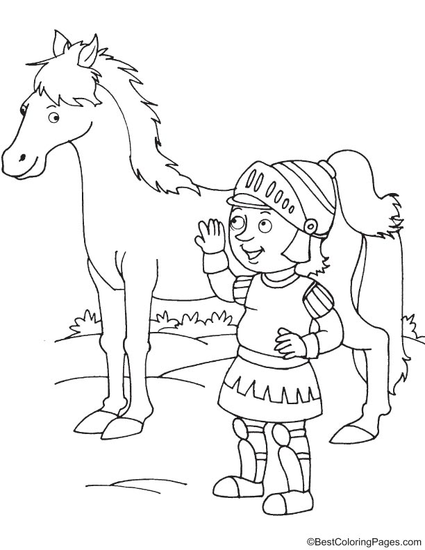Knight talking with horse coloring page