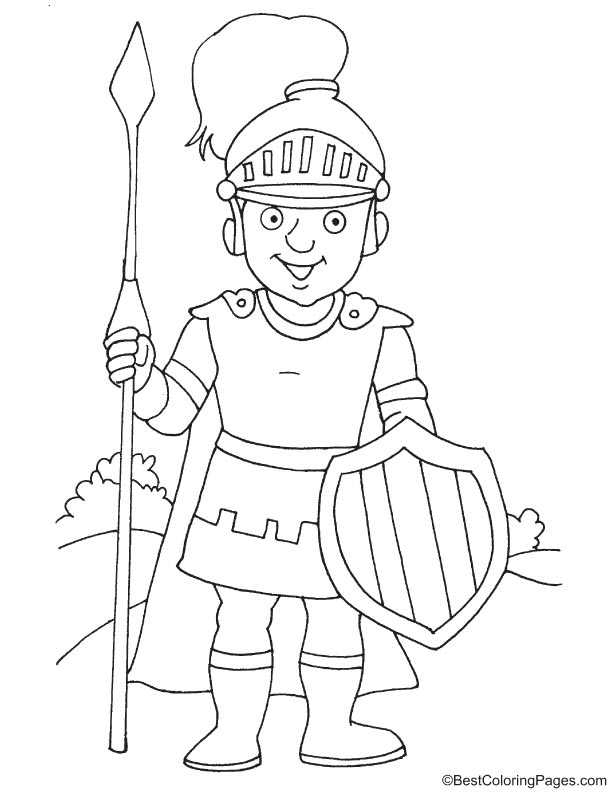 Knight with shield and spear