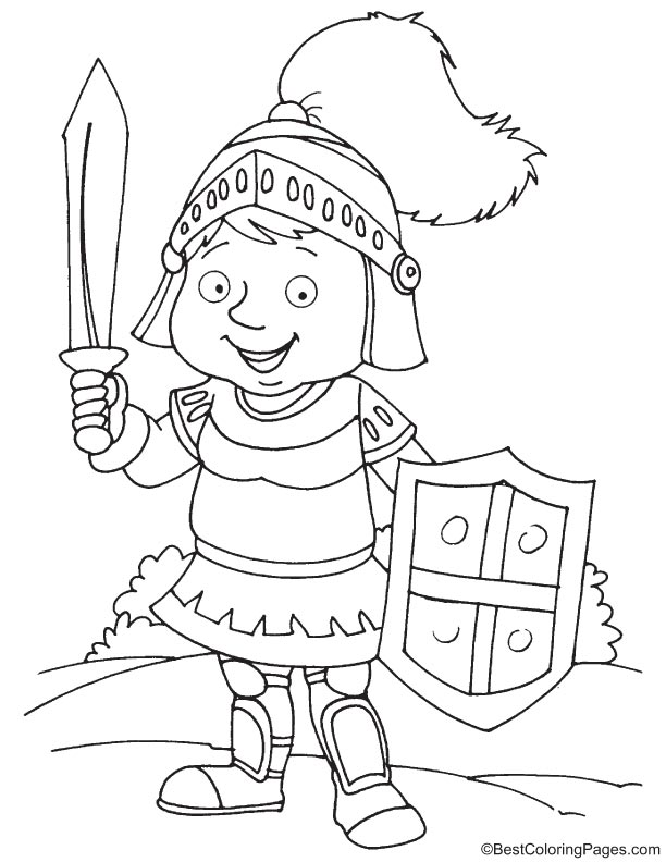 Knight with sword coloring page