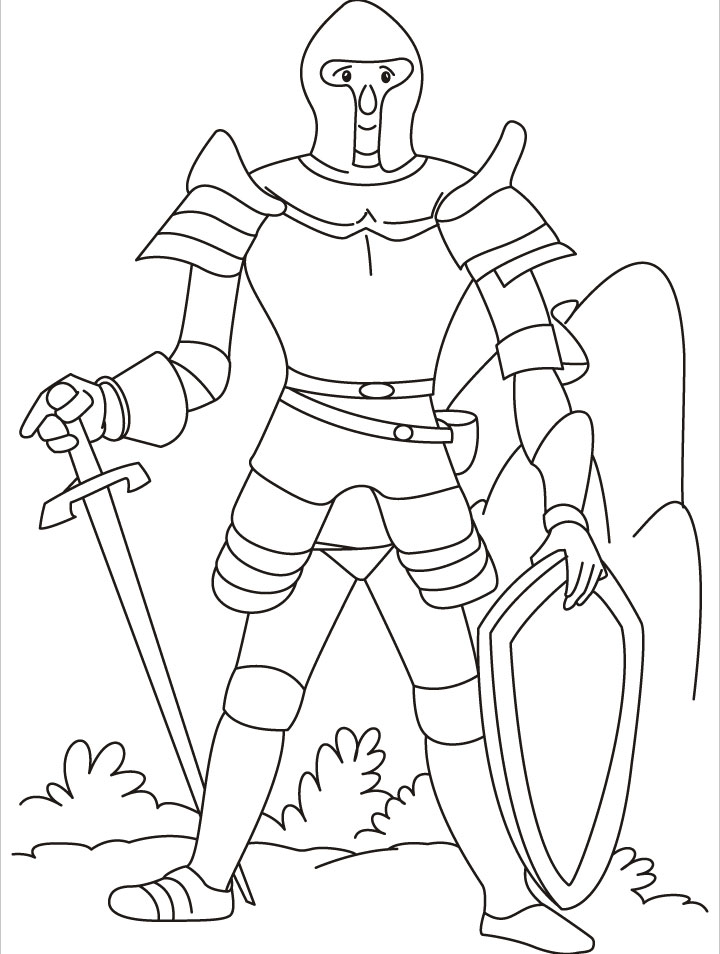 Great Warrior Sword And Shield Coloring Pages Download Free