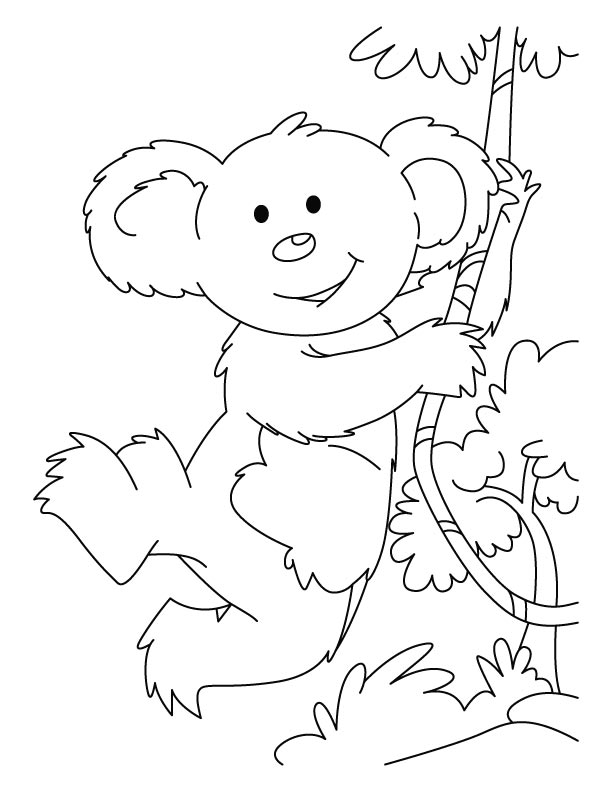 Swinging koala coloring pages