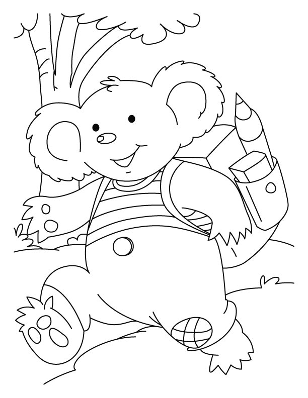 Koala rush to school coloring pages