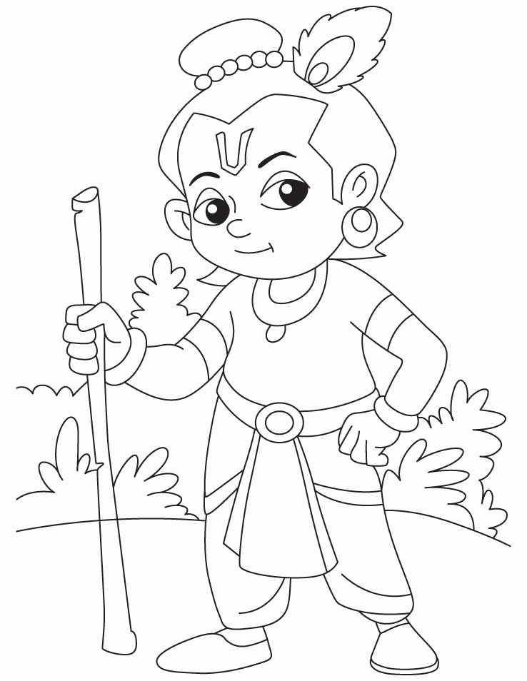 krishna pages for coloring - photo#3