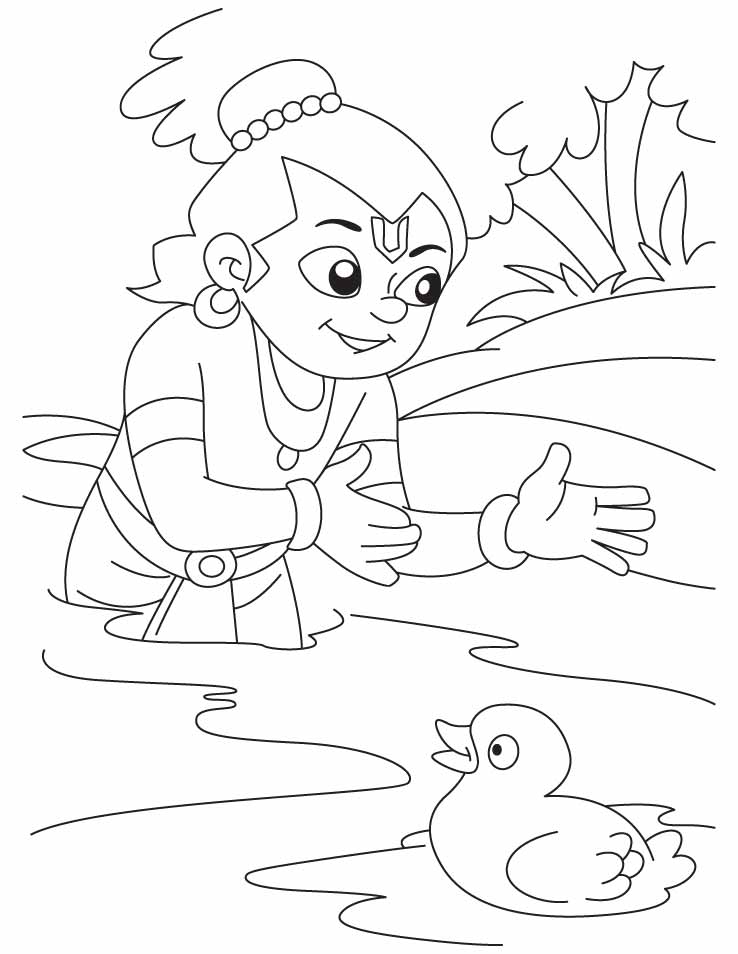 Krishna the bird lover playing with duck coloring pages