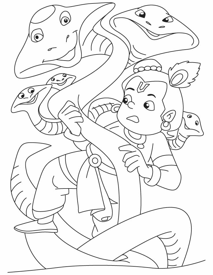 Lord krishna the slayer of kalia naag coloring pages for Coloring pages of krishna