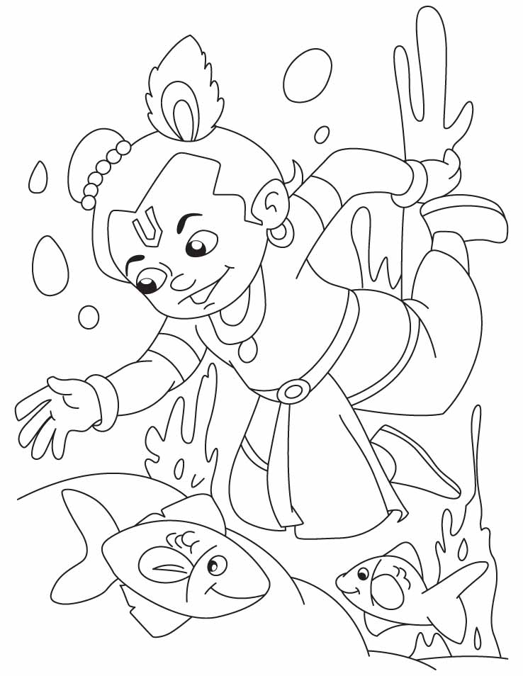 Babykrishna free colouring pages for Coloring pages of krishna
