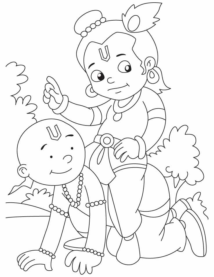 Krishna With Sudama They Are Best Friends Ever In The World Coloring Pages