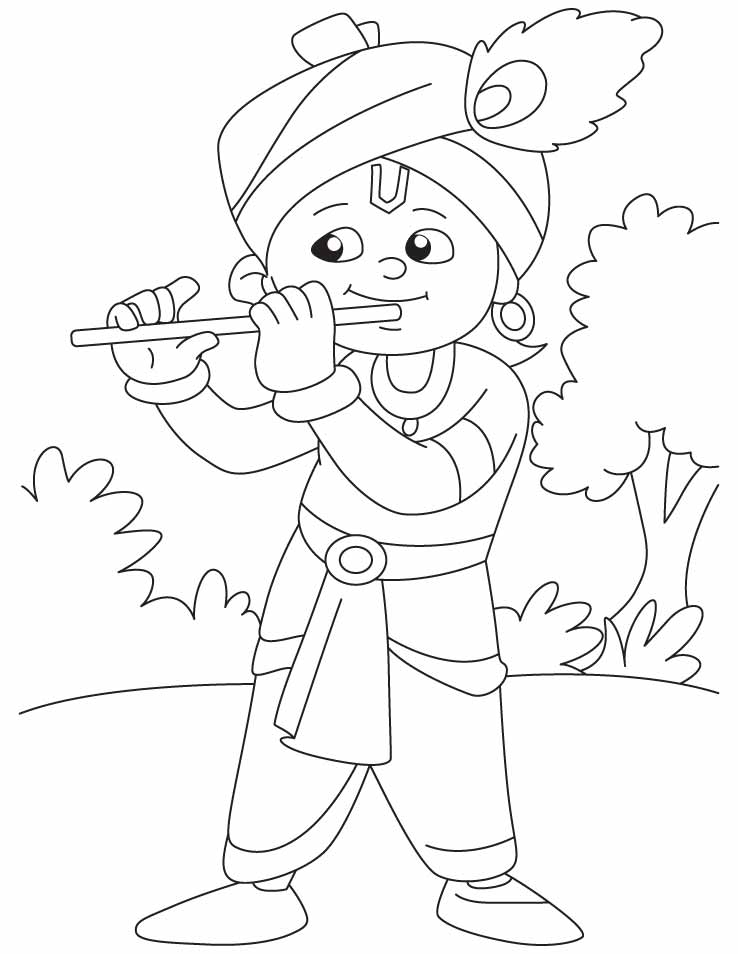 krishna pages for coloring - photo#1