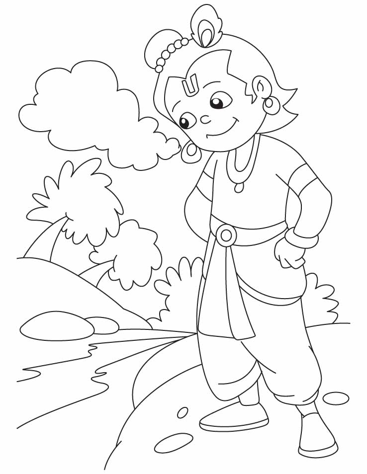 lord krishna is in thoughtfull mood | download free lord krishna ... - Baby Krishna Images Coloring Pages