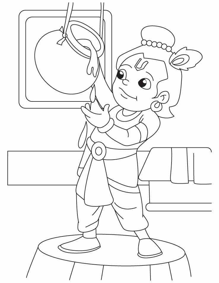 Krishna the innocent butter thief coloring pages for Coloring pages of krishna