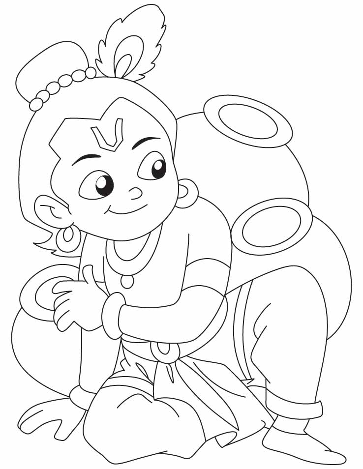 krishna pages for coloring - photo#2