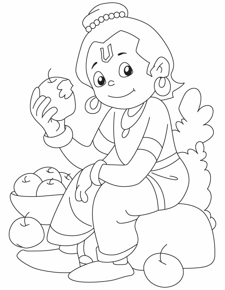 Krishna relishing an apple coloring pages