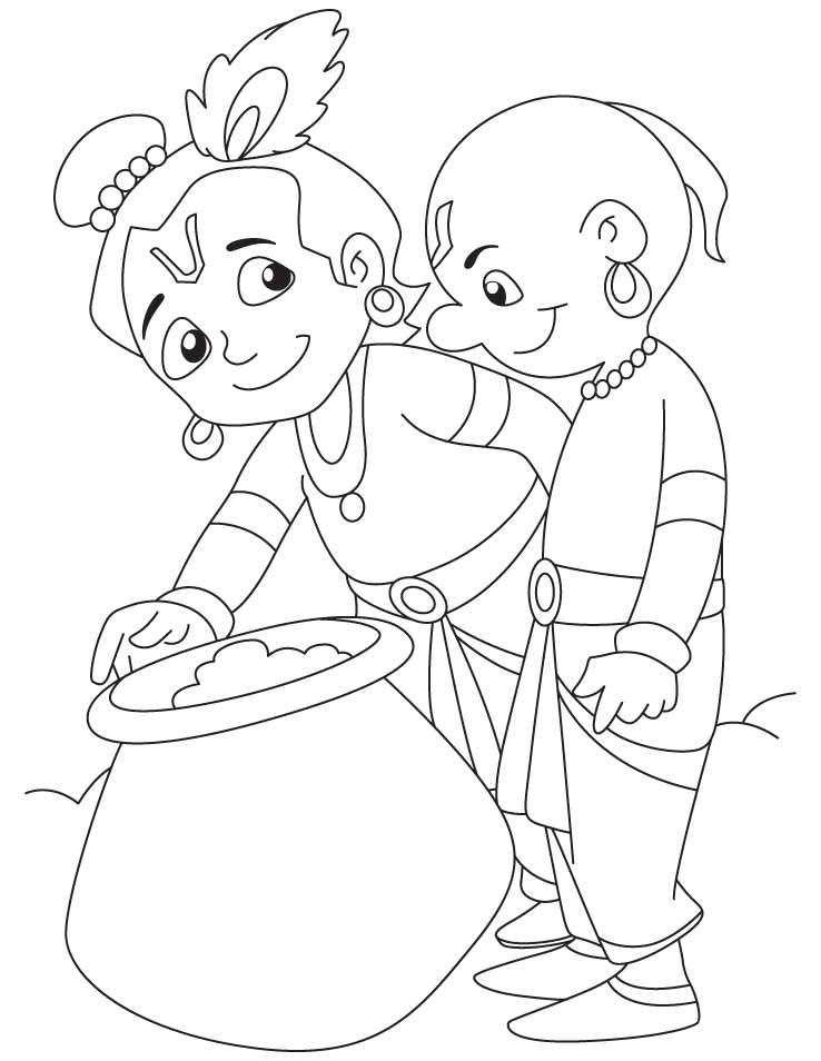 Krishna and Sudama are enjoying butter coloring pages  Download