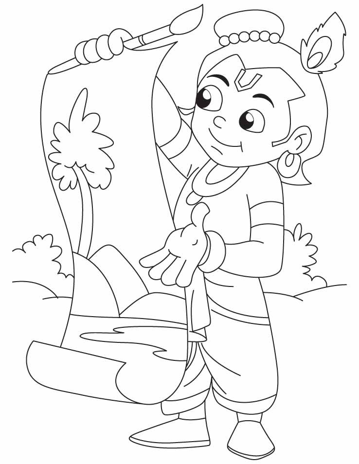 Krishna the great artist doing painting coloring pages Download