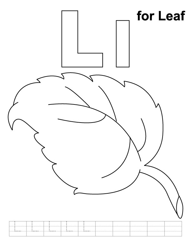 L For Leaf Coloring Page With Handwriting Practice