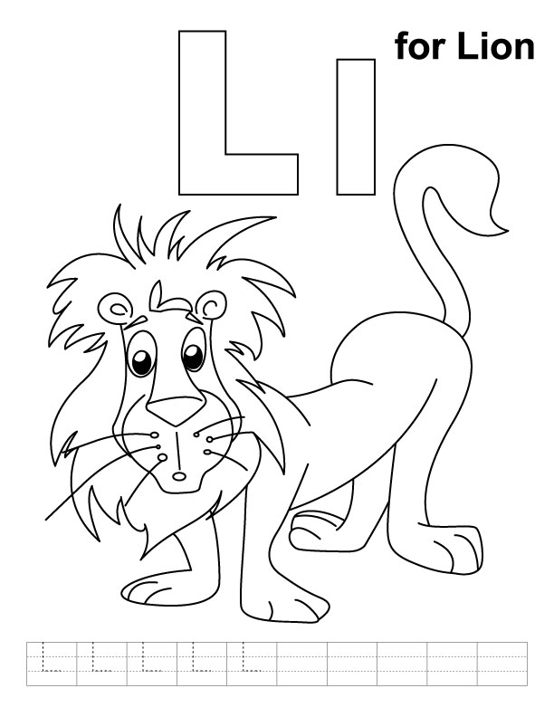 L for lion coloring page with handwriting