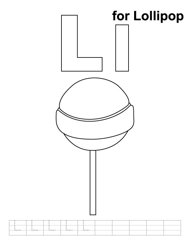 L for lollipop coloring page with handwriting practice
