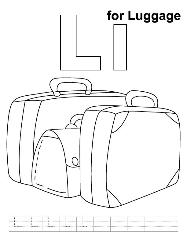 L for luggage coloring page with handwriting practice
