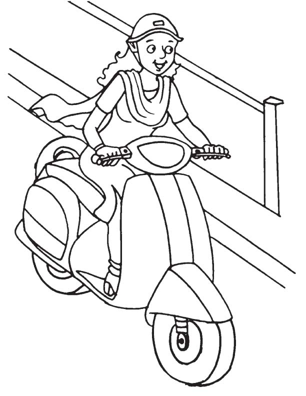 lady driving scooter coloring page