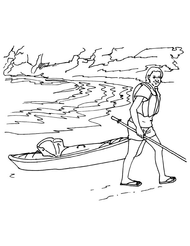 kayak coloring pages lady with her kayak coloring page download free lady. Black Bedroom Furniture Sets. Home Design Ideas