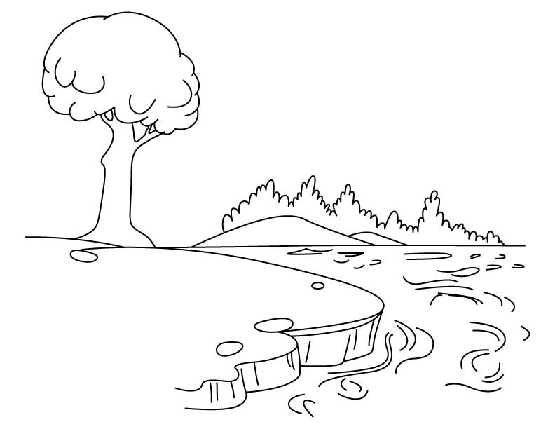 Beautiful Lake Coloring Page