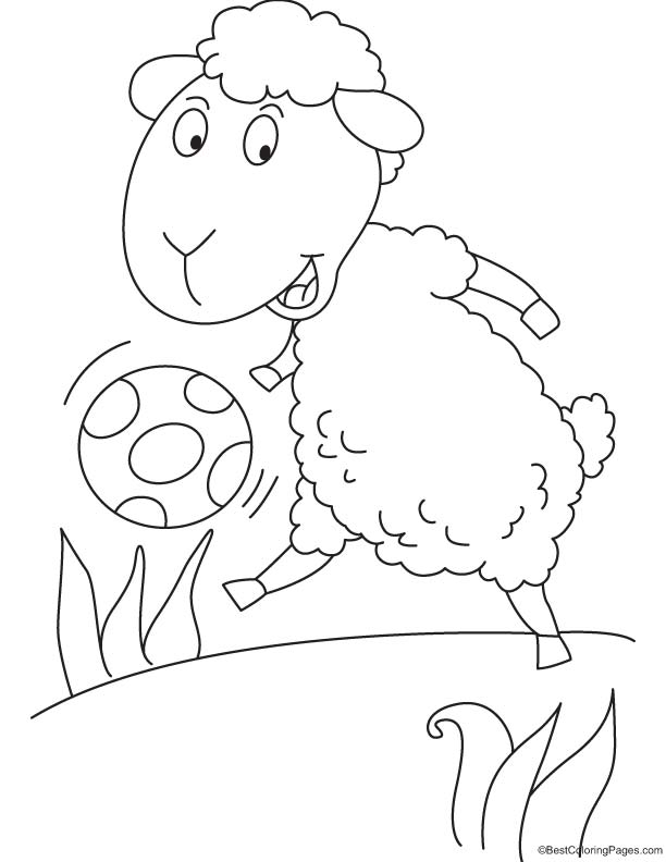 Lamb and ball coloring page