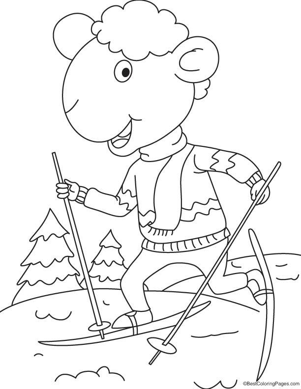 Lamb skiing coloring page