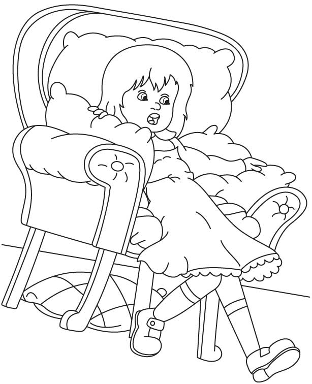 Lazy girl coloring page