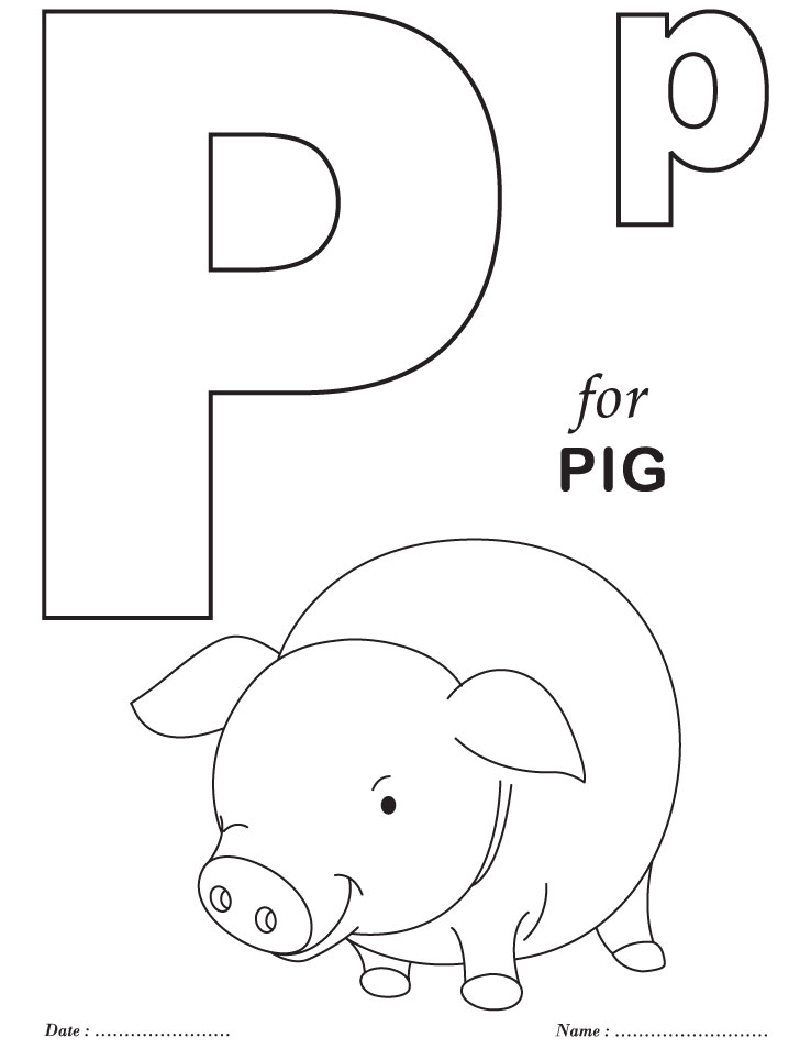 printables alphabet p coloring sheets
