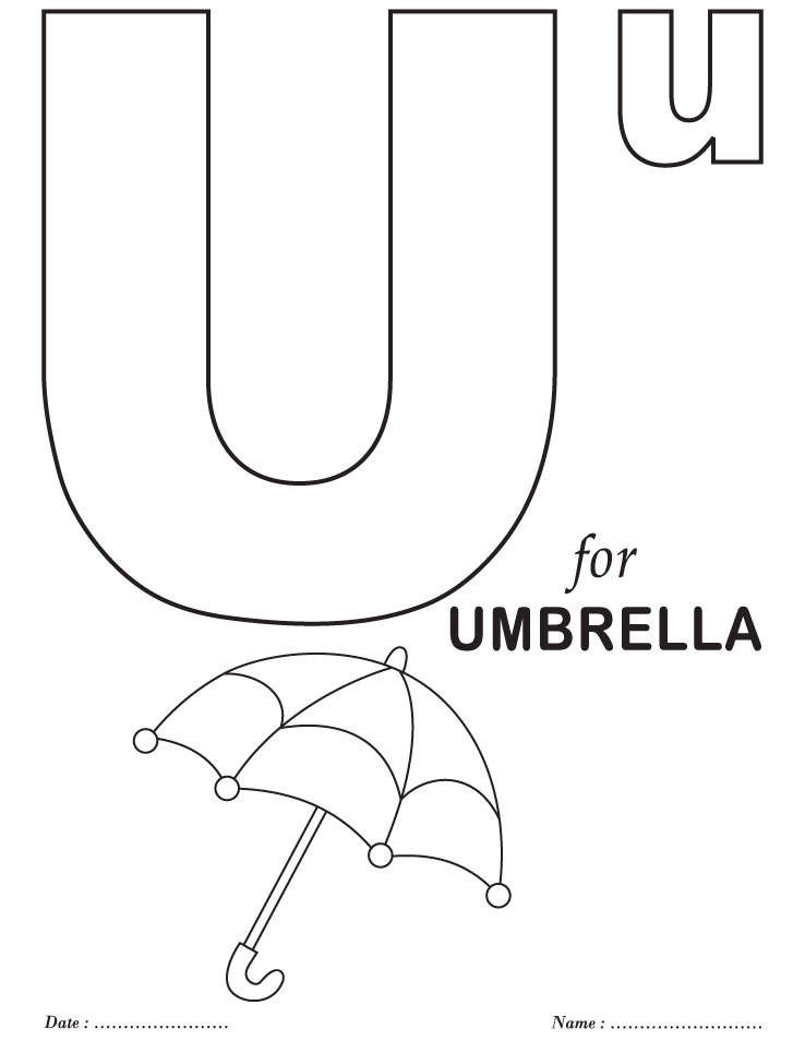alphabet abc letter u umbrella coloring pages 7 jpg