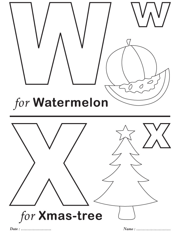 Printables Alphabet W-X Coloring Sheets