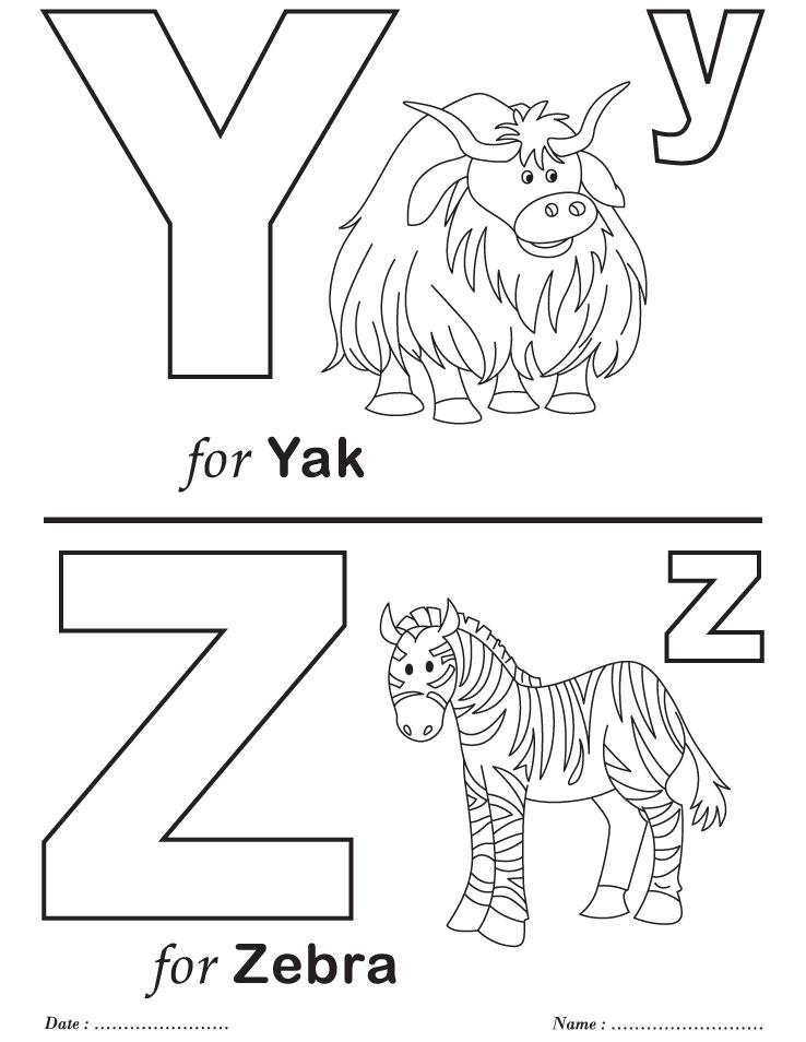 Printables Alphabet Y-Z Coloring Sheets
