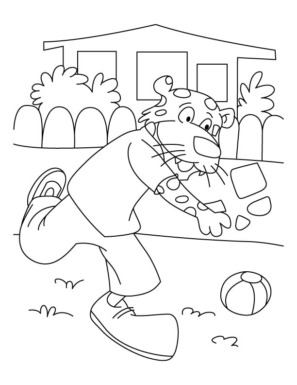 Playful leopard coloring pages