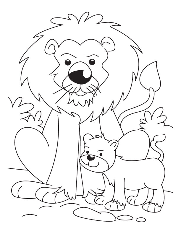 Lion with a cub coloring pages