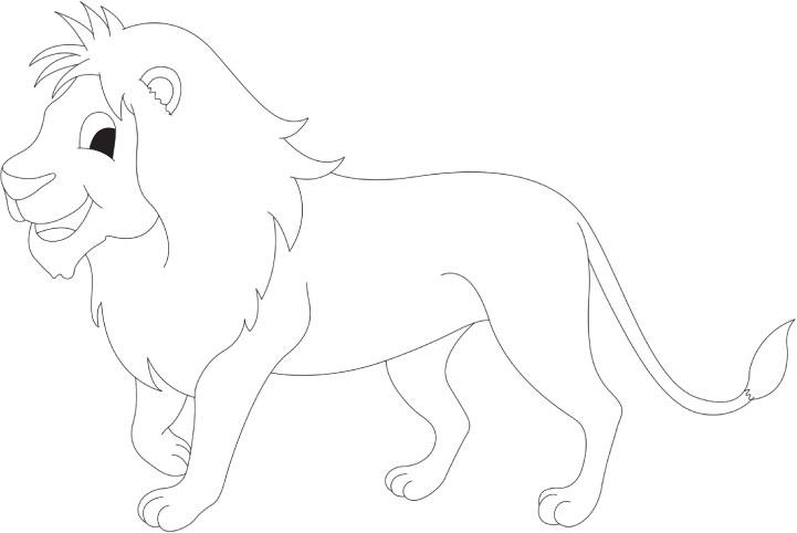 Cartoon Lion Coloring Page Happy