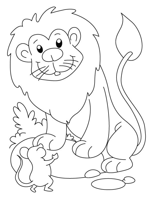 Free Coloring Pages Of Lion And Mouse