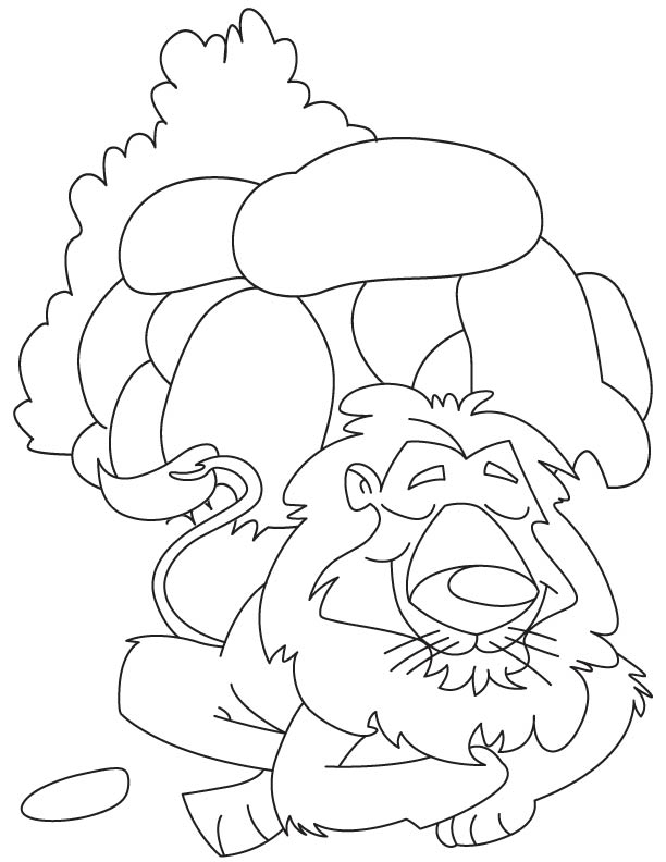 Lion lives in den coloring page