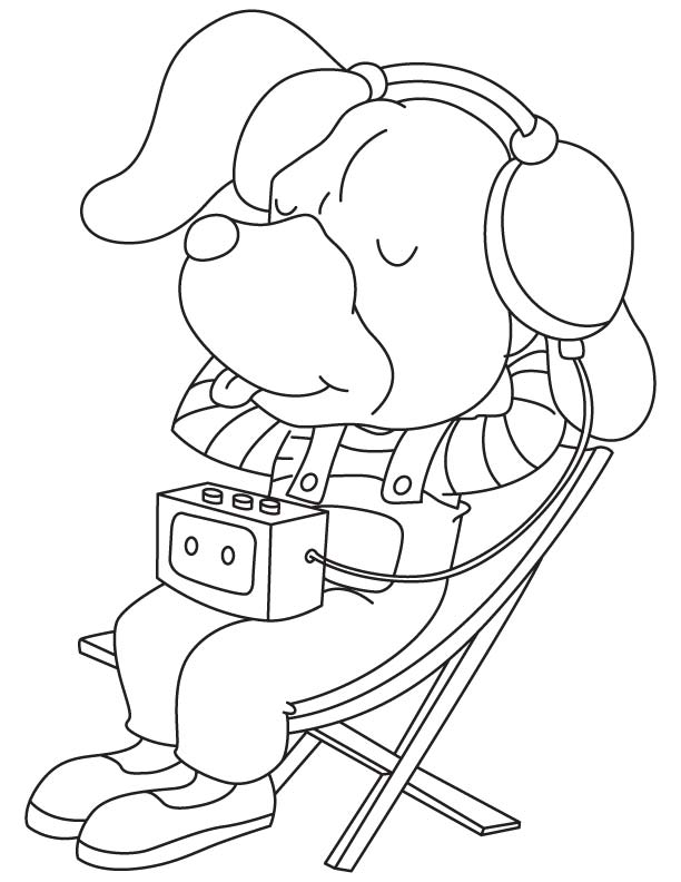 Listening to music coloring page download free listening for Listening coloring pages