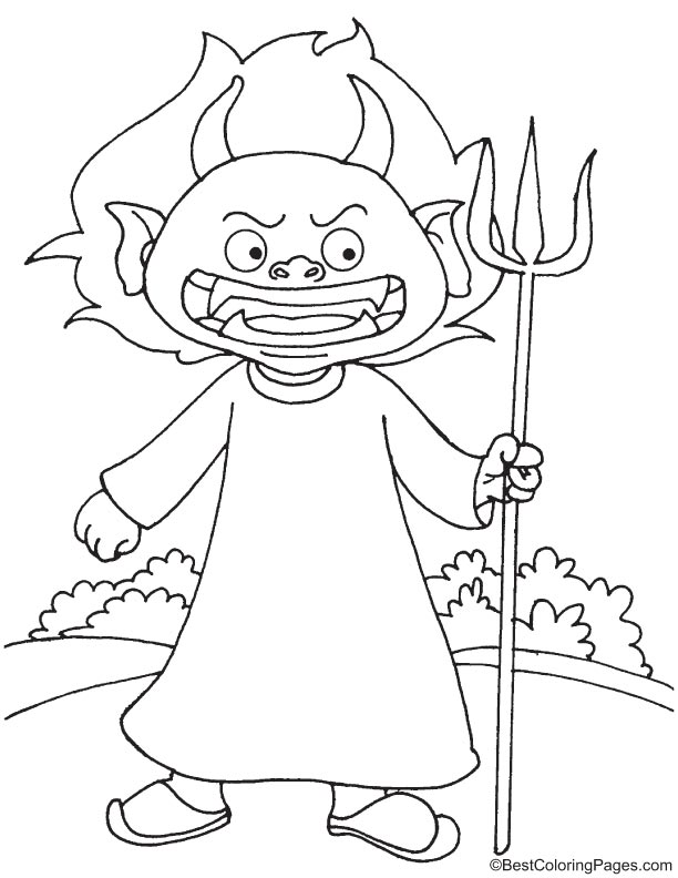 Little cartoon devil coloring page
