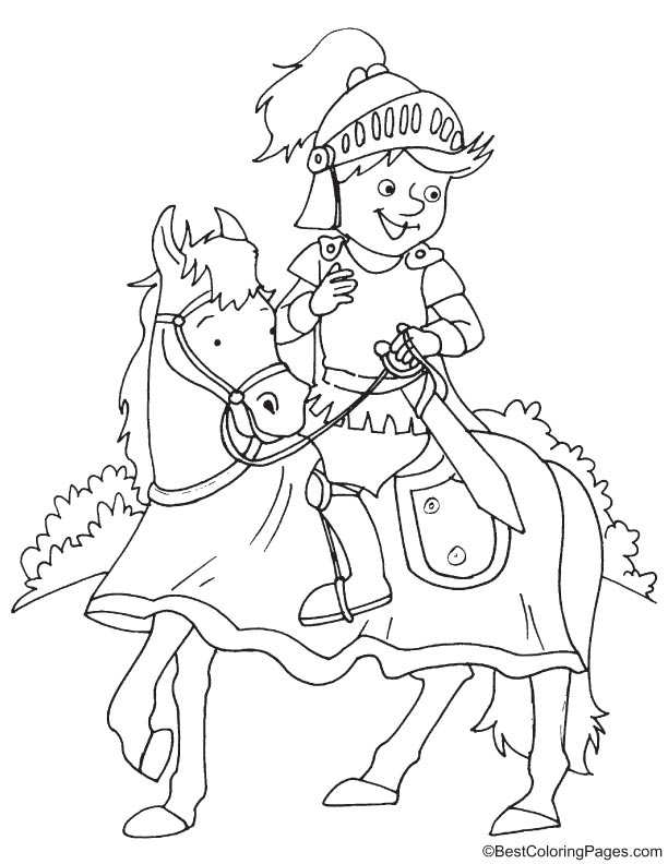 Little cute knight coloring page