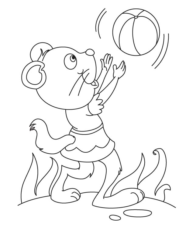 Little pussy with ball coloring page