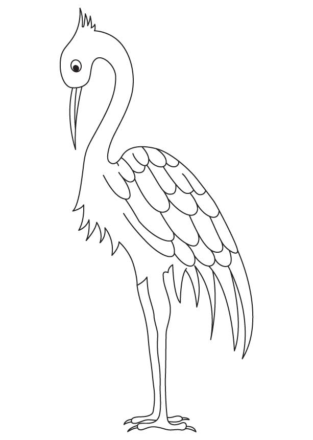 Long Legged Crane Coloring Page