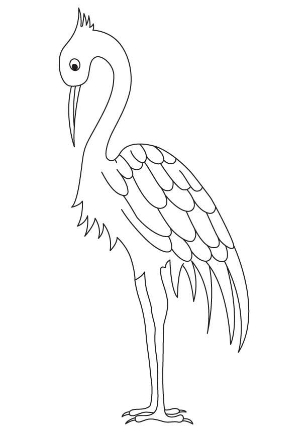 Long legged crane coloring page
