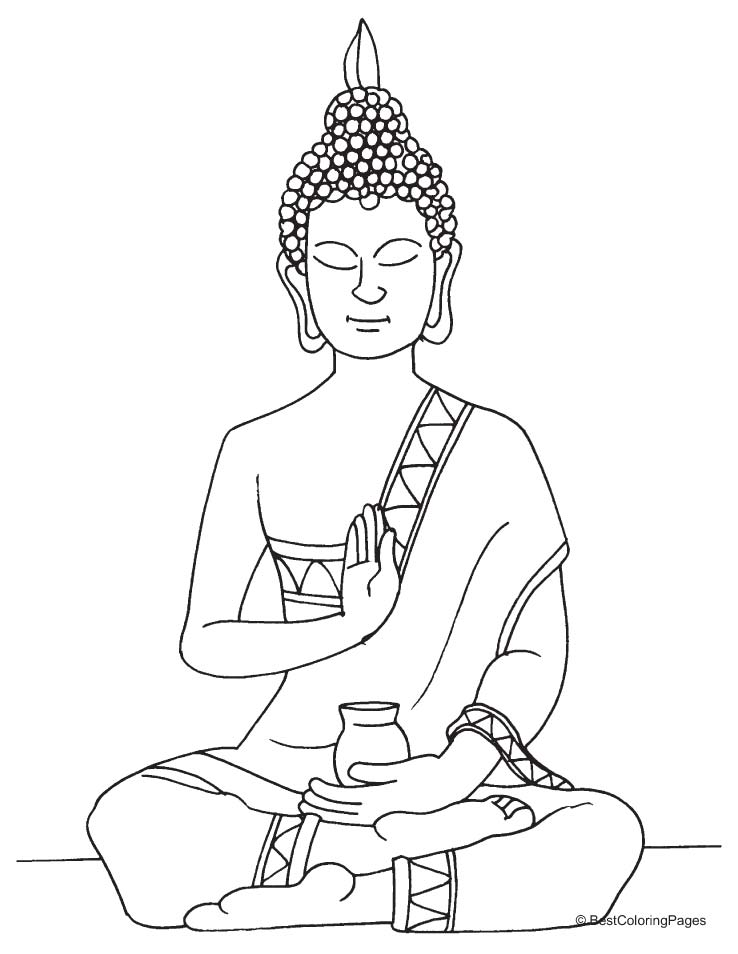 Lord Buddha statue coloring page